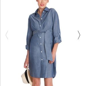 Chambray Belted Maternity Dress size 4